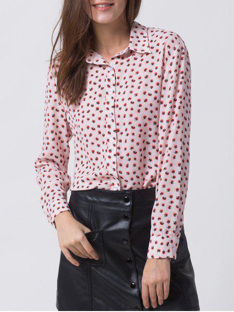 latest Chiffon Printed Shirt - PINK M Mobile