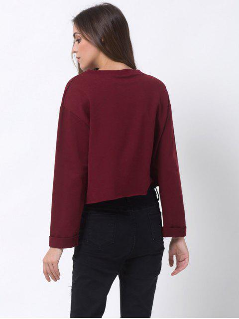 affordable Girls Bite Back Graphic Cropped Sweatshirt - BURGUNDY XL Mobile