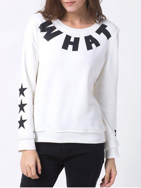 affordable Letter Star Print Pullover Sweatshirt - WHITE XS Mobile