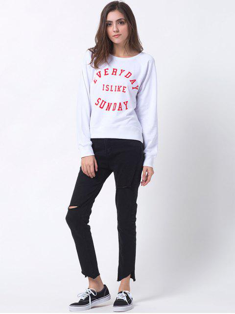 women's Text Print Pullover Raglan Sweatshirt - WHITE M Mobile