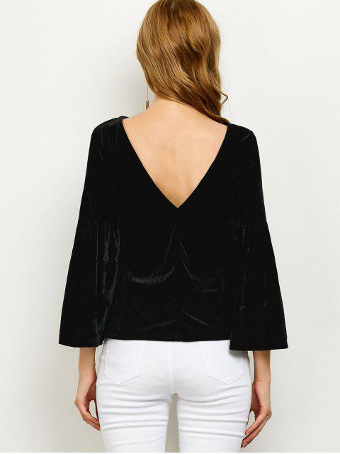 women's V Back Flare Sleeve Velvet Tee - BLACK S Mobile