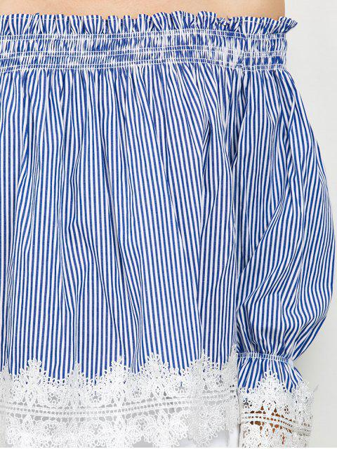 outfit Lace Panel Off Shoulder Striped Blouse - STRIPE M Mobile