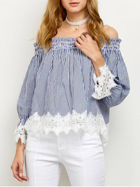 hot Lace Panel Off Shoulder Striped Blouse - STRIPE L Mobile
