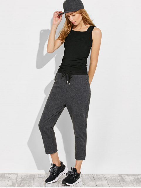 online Pockets Drawstring Pants - GRAY M Mobile
