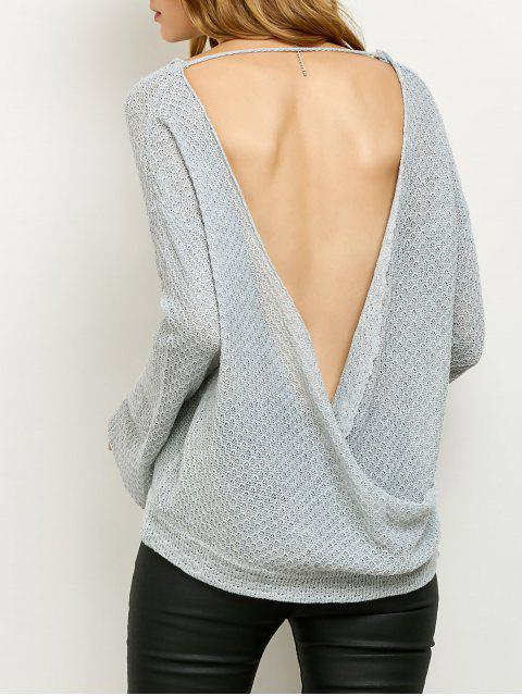 unique Wrap Cut Out Knitwear - GRAY L Mobile