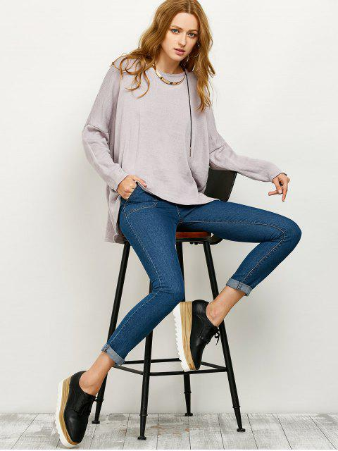 affordable Drop Shoulder High-Low Sweater - GRAY L Mobile