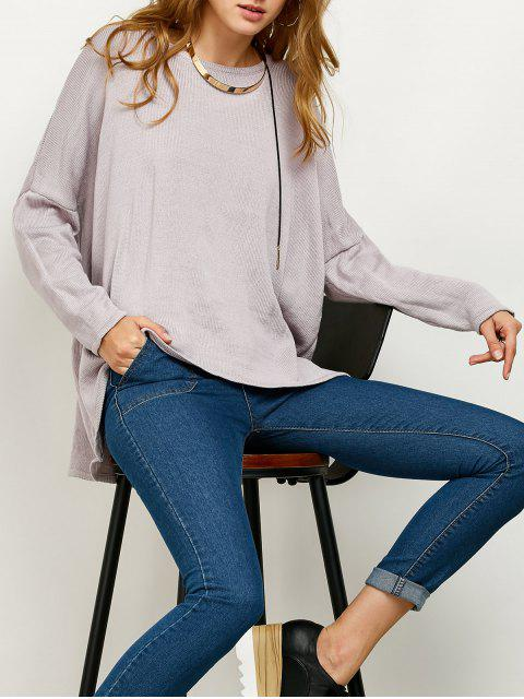 womens Drop Shoulder High-Low Sweater - GRAY S Mobile
