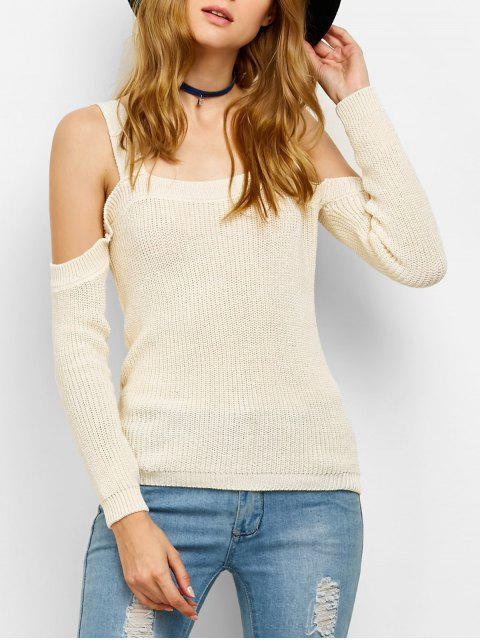 women Cold Shoulder Loose Chunky Sweater - OFF-WHITE XL Mobile