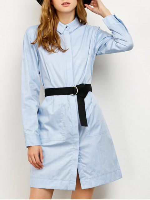lady Long Sleeve Belted Shirt Dress - BLUE L Mobile