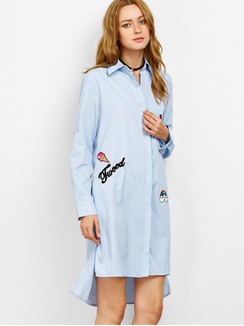 unique Striped High Low Graphic Shirt Dress - STRIPE 2XL Mobile