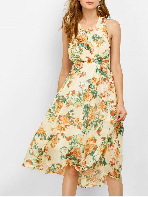 best Floral Cut Out Beach Dress - BEIGE M Mobile