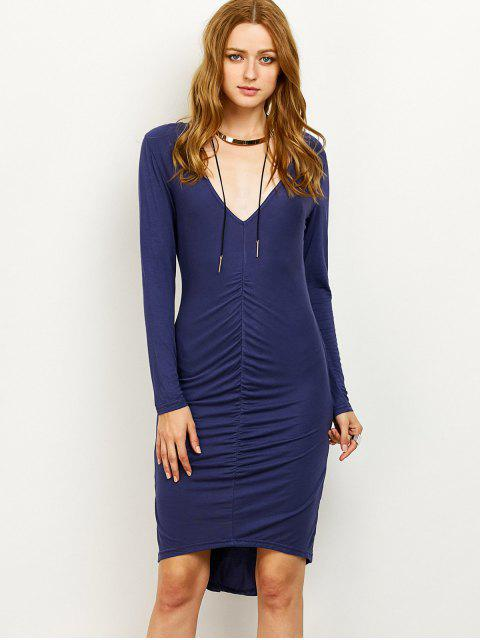trendy Ruched High-Low Pencil Dress - PURPLISH BLUE XL Mobile