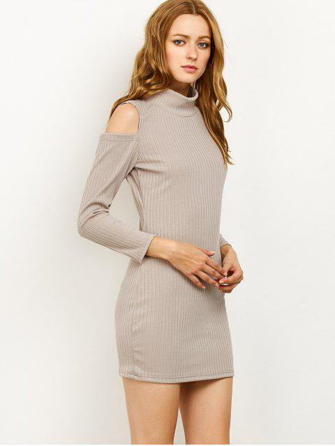 fashion Cold Shoulder High Neck Ribbed Sweater Dress - GRAY XL Mobile