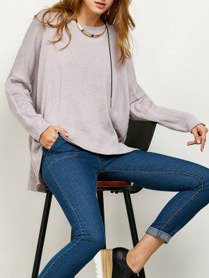 Drop Shoulder High-Low Sweater - Gray M