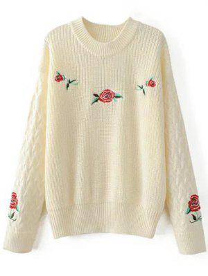 Floral De Gran Tamaño Suéter Bordado - Blancuzco M