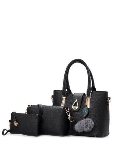 Metal Faux Leather Twist-Lock Tote Bag 204415701