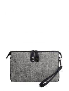 Buy Twist-Lock Zipper Textured Leather Clutch Bag - LIGHT GRAY