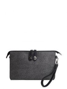 Buy Twist-Lock Zipper Textured Leather Clutch Bag - DEEP GRAY
