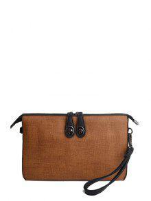 Buy Twist-Lock Zipper Textured Leather Clutch Bag - BROWN
