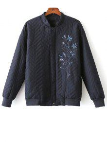 Herringbone Quilted Embroidered Jacket - Purplish Blue M