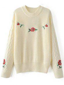 Oversized Floral Embroidered Sweater - Off-white M