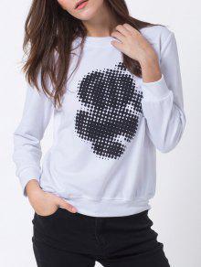 Sweatshirt à Pois Ras Du Cou - Blanc L