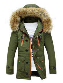 فو الفراء مقنع زمم متعددة جيب مبطن معطف - الجيش الأخضر L