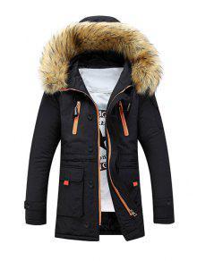 فو الفراء مقنع زمم متعددة جيب مبطن معطف - أسود M