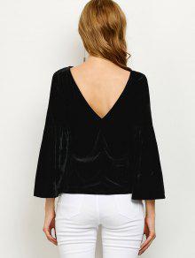 V Back Flare Sleeve Velvet Tee - Black M