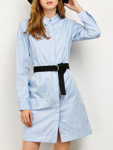 Camiseta-Vestido Manga Larga Cinturón Largo Medio - Azul S