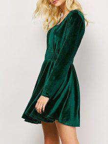 Long Sleeve Velvet Thick Mini Swing Dress - Green S