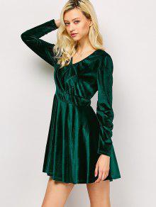 Long Sleeve Velvet Thick Mini Swing Dress GREEN: Long Sleeve ...
