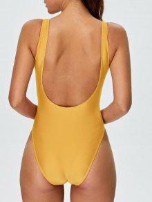 9c1ed857c 33% OFF   HOT  2019 High Cut Backless Swimsuit In YELLOW