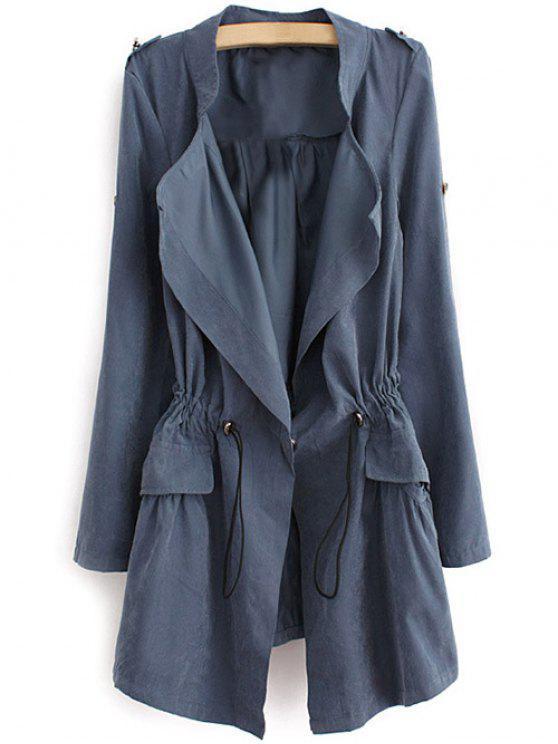 Manteau Taille à Corde avec Épaulette - Bleu-gris M
