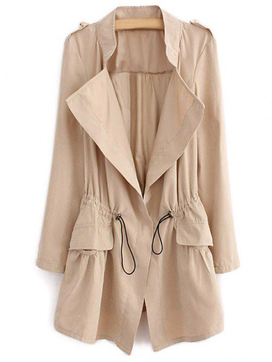 trendy Epaulet Drawstring Coat - LIGHT KHAKI XL