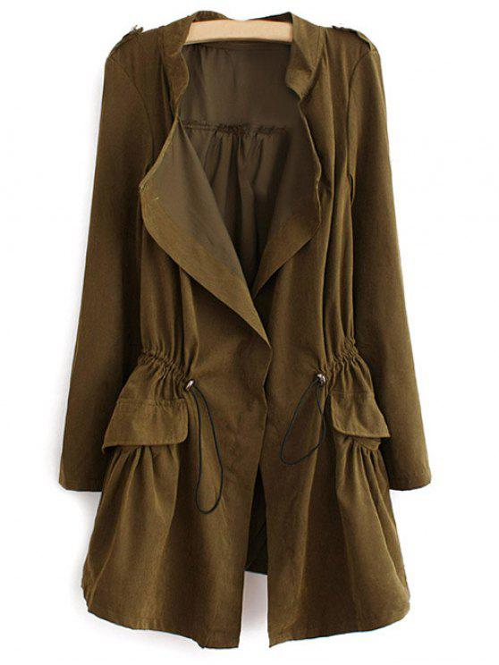 fancy Epaulet Drawstring Coat - ARMY GREEN XL