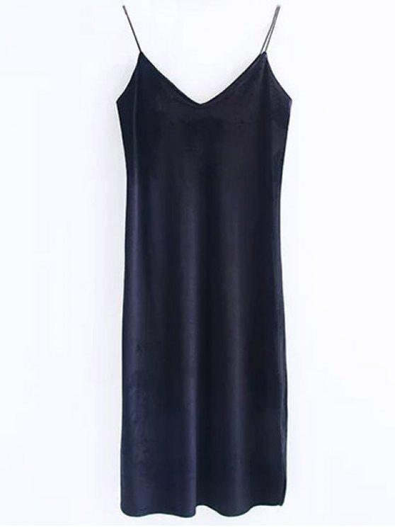 كامي المخملية ميدي اللباس - أسود M