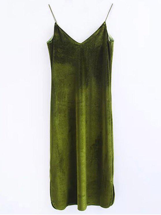 shop Cami Velvet Midi Dress - OLIVE GREEN S
