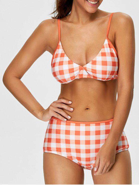 High Rise Karo Bikini - Roter Zirkon S