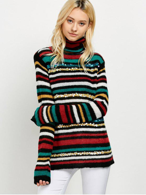 chic Sequins Striped Turtleneck Sweater - BLACK ONE SIZE