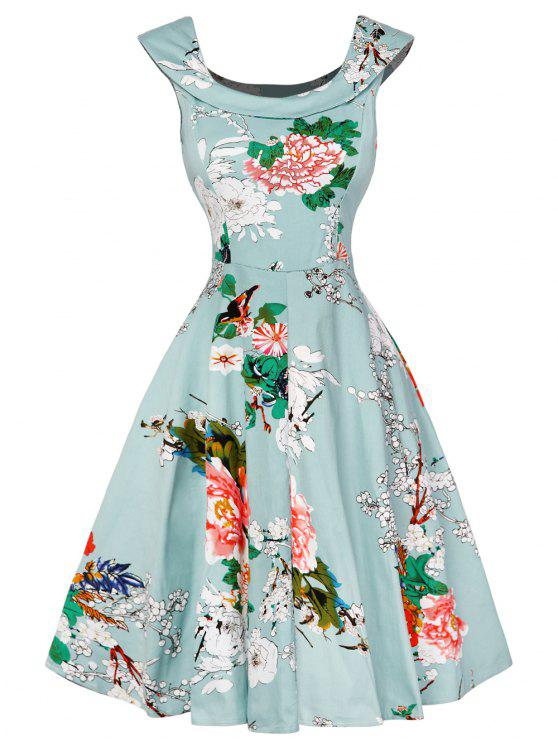 outfit Cap Sleeve Floral Fit and Flare Dress - LIGHT GREEN XL