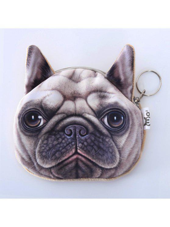 الكلب نمط اللون الربط البريدي عملة محفظة - اللون البيج