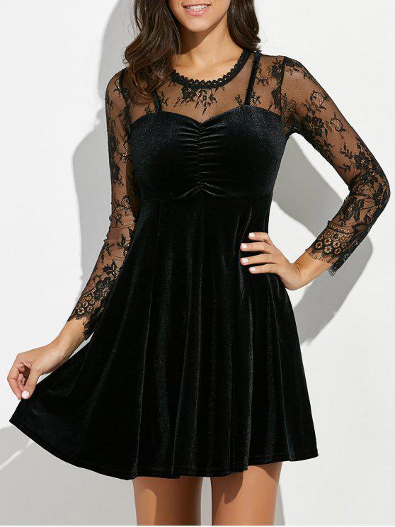 1f9ee5f5ec96d 35% OFF] 2019 Lace Panel Velvet Swing Dress In BLACK | ZAFUL
