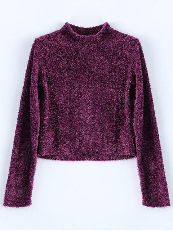 Camiseta Cuello Alto Peluda Recortada - Rojo purpúreo M