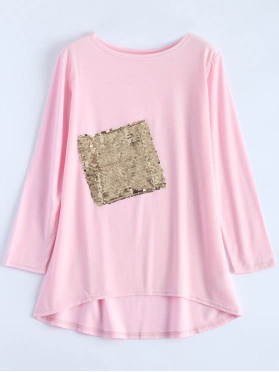 women's Sequined Asymmetric T-Shirt - PINK XL