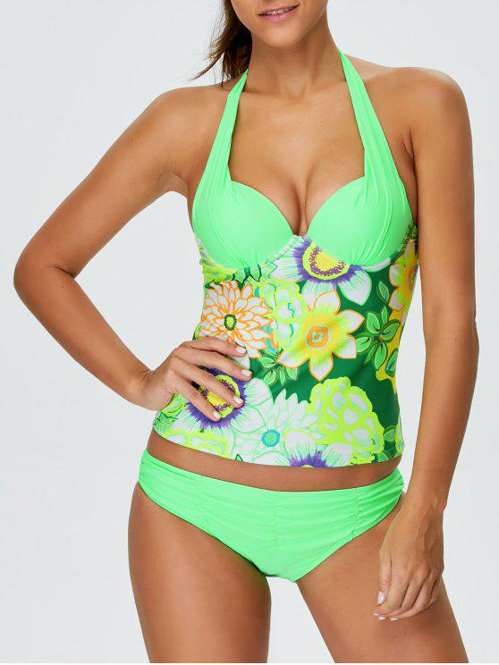 unique Floral Halter Underwire Tankini Swimsuit - GREEN S