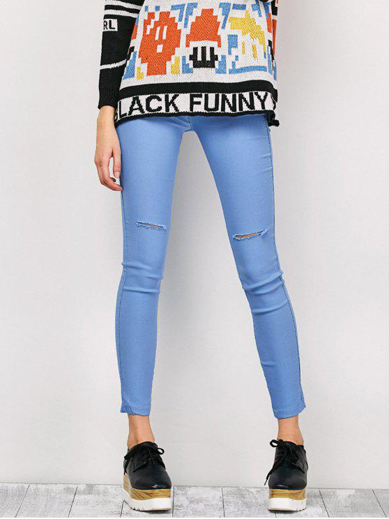 sale Ripped Skinny Pencil Jeans - LIGHT BLUE M