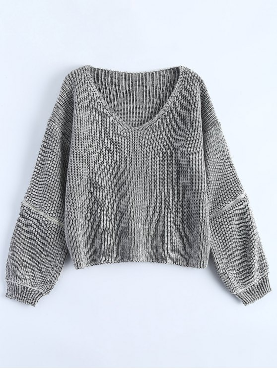 unique Zipper Cutout V Neck Sweater - GRAY ONE SIZE