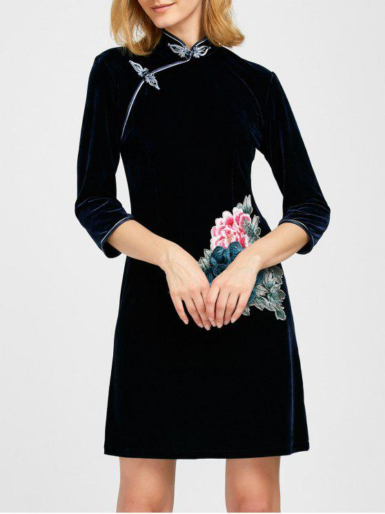 women Embroidered Patch Velvet Cheongsam Dress - DEEP BLUE M