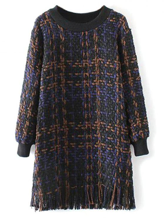 Vestido de tejido con flecos heathered - Azul Purpúreo M